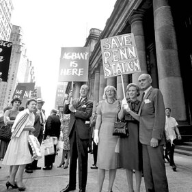 Protesters in front of Pennsylvania Station on Aug. 2, 1962. Photo credit-http://mas.org/