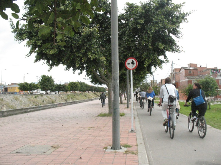 Cycling Infrastructure as a symbol of social equity in Bogota, Colombia Image courtesy: Vidhya Mohankumar