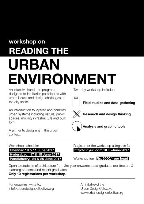 WORKSHOP ALERT- Reading the UrbanEnvironment